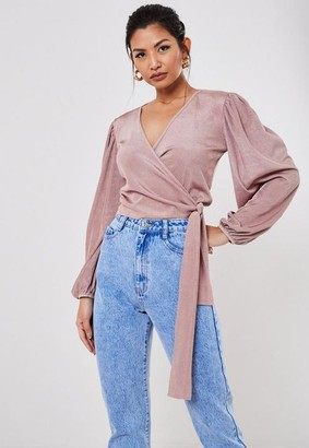 Missguided Fine Rib Balloon Sleeve Crop Top