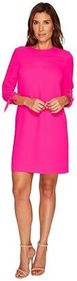 CeCe 3/4 Tie Sleeve Moss Crepe Shift Dress