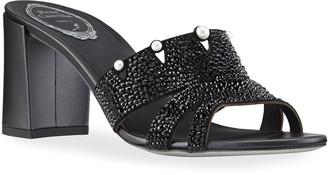 Rene Caovilla Jet Pearl Block-Heel Slide Sandals