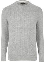 River Island MensGrey ribbed crew neck sweater
