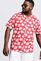 Big & Tall Floral Print Revere Collar Shirt