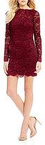 Abbi Vonn by La Femme Open Strappy Back Lace Sheath Dress