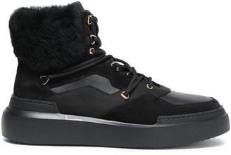 Buscemi Faux Fur-trimmed Suede And Leather Ankle Boots