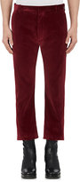 Balenciaga Men's Velvet Skinny Crop Flared Trousers