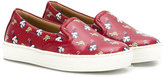 Salvatore Ferragamo Kids - dog print slip-on sneakers - kids - Leather/Nappa Leather/rubber - 27