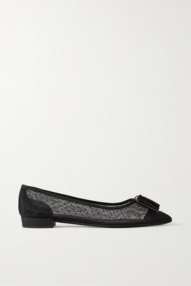 Salvatore Ferragamo Zeri Pois Bow-embellished Flocked Polka-dot Mesh Point-toe Flats - Black