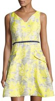 Donna Ricco Sleeveless Floral Jacquard Dress, Yellow Pattern