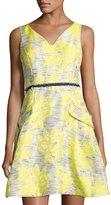 Donna Ricco Sleeveless Floral Jacquard Dress, Yellow Pattern