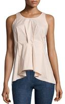 Jil Sander Navy Sleeveless Pleated-Front Poplin Top, Rose