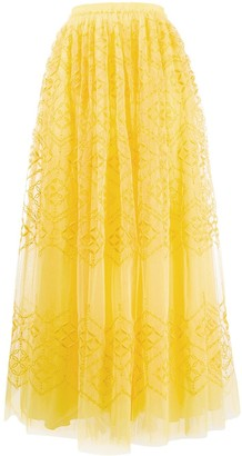 Ermanno Scervino Embroidered Tulle Maxi Skirt