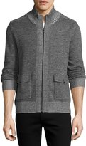 Neiman Marcus Stand-Collar Zip-Front Sweater, Gun Metal