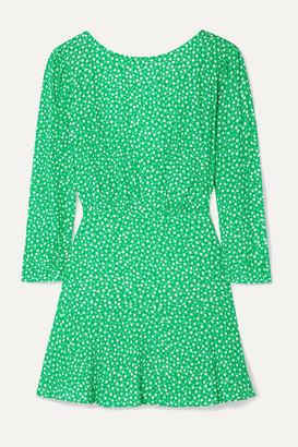 Rixo Kyla Floral-print Crepe Mini Dress - Jade