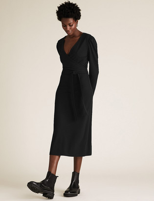 Marks and Spencer Jersey V-Neck Tie Front Midi Wrap Dress