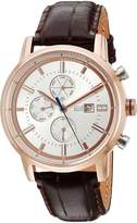 Tommy Hilfiger Men's Rose Gold-Tone and Leather Casual Watch, Color:Brown (Model: 1791246)