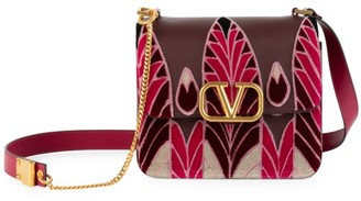 Valentino VSling Embroidered Leather Crossbody Bag