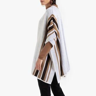 Anne Weyburn Metallic Striped Poncho in Fine Knit