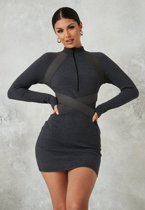 Missguided Gray Rib High Neck Zip Front Mini Dress
