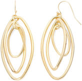 Liz Claiborne Gold-Tone Orbital Oval Drop Earrings
