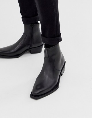 Asos DESIGN chelsea boots in black leather with exaggerated cuban sole