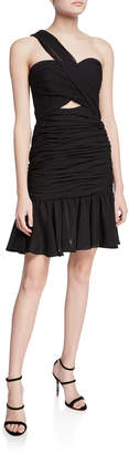 Jill Stuart Cross Halter Shirred Flounce-Hem Mini Dress