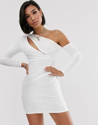 Asos DESIGN slash front velvet long sleeve mini dress