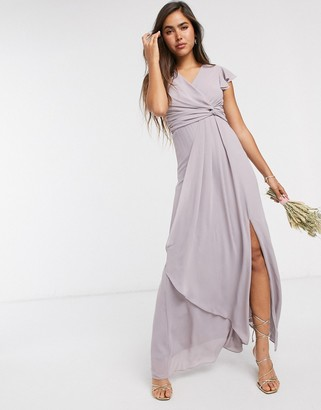 TFNC bridesmaid flutter sleeve ruffle detail maxi dress in gray