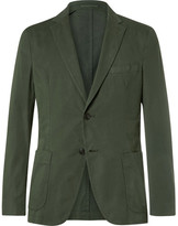 Officine Generale Green Slim-fit Garment-dyed Cotton-twill Suit Jacket