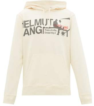 Helmut Lang Logo Print Cotton Hooded Sweatshirt - Mens - White