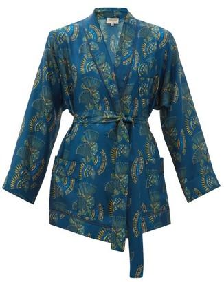 ZEUS + DIONE Idille Fan-print Silk-twill Jacket - Womens - Blue Multi