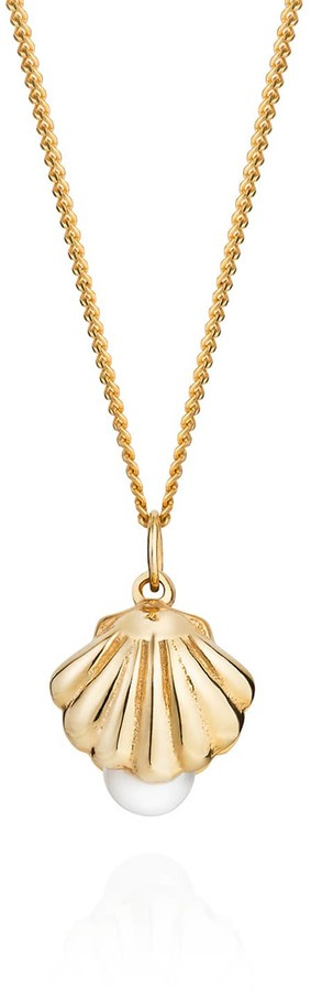 Lee Renee Double Side Shell & Pearl Necklace Gold