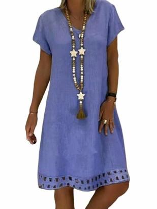 Hertsen Women's Plus Size Summer Boho Cotton Linen Casual Short Sleeve Knee Length Dress (Green M)