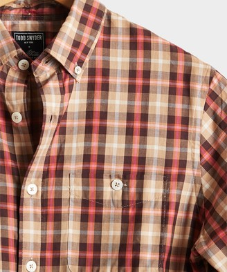 Todd Snyder Italian Pink Plaid Button Down Shirt