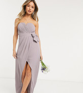 TFNC bridesmaid exclusive bandeau wrap midaxi dress with pleated detail in gray