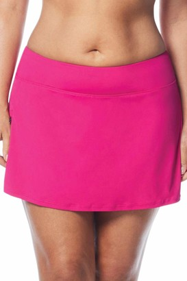 BEACH HOUSE WOMAN Women's Plus Size Paloma Pull on Swim Skort Bikini Bottom with Zip Pocket