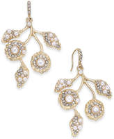 INC International Concepts I.n.c. Gold-Tone Pave & Imitation Pearl Flower Drop Earrings, Created for Macy's