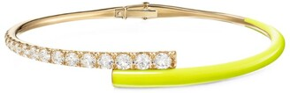 Melissa Kaye Yellow Gold, Diamond and Enamel Lola Cuff Bracelet