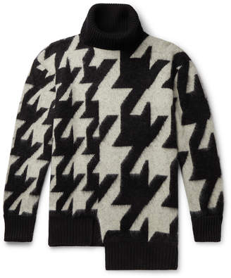 Alexander McQueen Asymmetric Houndstooth Mohair-Blend Rollneck Sweater