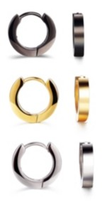 He Rocks Extra Small Tri-Tone Stainless Steel Hoop Earring Trio