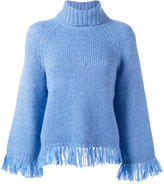 Tory Burch turtleneck fringed jumper