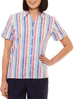 Alfred Dunner Classics Relaxed Fit Short Sleeve Stripe Button-Front Shirt