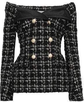 Faith Connexion Off-the-shoulder Checked Boucle-tweed Jacket