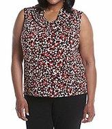 Kasper Womens Plus Drape Neck Printed Pullover Top