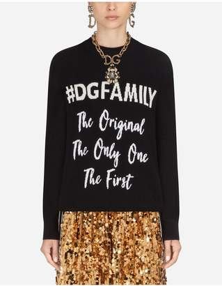 Dolce & Gabbana Cashmere And Wool Sweater With Lettering