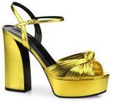 Gucci Allie Knotted Metallic Leather Platform Sandals