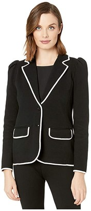 Lauren Ralph Lauren Trimmed Cotton-Blend Blazer (Polo Black/Mascarpone Cream) Women's Clothing