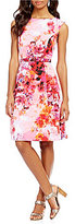 Adrianna Papell Garden Printed Faille Belted Fit & Flare Dress