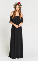 MUMU Caitlin Ruffle Maxi Dress ~ Black Chiffon