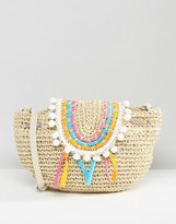 South Beach Straw Bag with Staw Piping and Pom Pom Trim