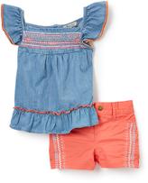 Lucky Brand Bleach Wash Heidi Angel-Sleeve Top & Shorts - Toddler & Girls
