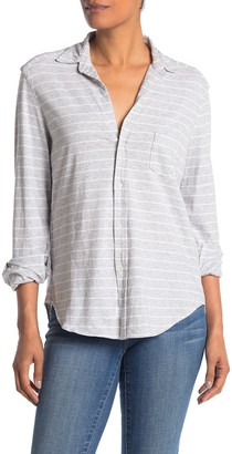 Frank And Eileen Heathered Stripe Jersey Button Front Shirt